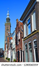 EDAM NETHERLANDS OCTOBER 01 2015: Church of Our Dear Lady in Edam. Although most of the church was demolished in 1882, the 15th-century tower and carillon remain standing today.