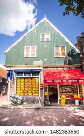 EDAM, NETHERLANDS - SEPTEMBER 1, 2018:  Traditional cheese shop seen from Edam Netherlands