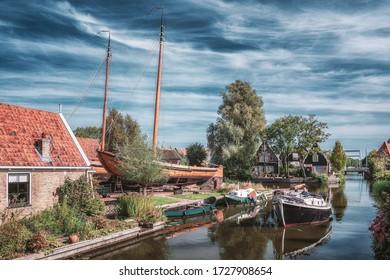Edam, Netherlands, September 22, 2019: The shipyard located at the Kwakersteeg in Edam