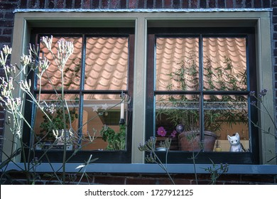 Edam, Netherlands, September 22, 2019:  Decorated window of a house in Edam