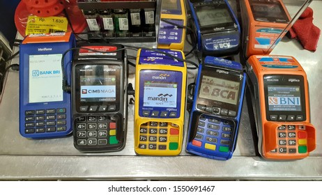 EDC machines for non-cash payments, are now often found in the city of Medan, especially in shopping centers and malls.  Medan, Indonesia - ca 2019.