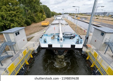 EDDERSHEIM, GERMANY - September 22, 2018: inland general cargo vessel PRETORIA entering the Main River lock of Eddersheim sluice west of Frankfurt