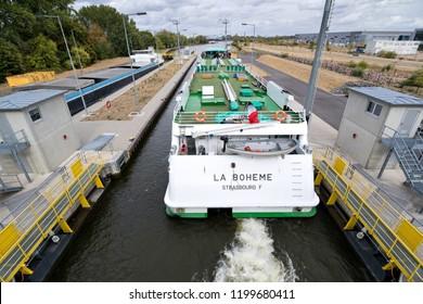 EDDERSHEIM, GERMANY - September 22, 2018: river cruise ship LA BOHEME in the Main River lock of Eddersheim sluice west of Frankfurt