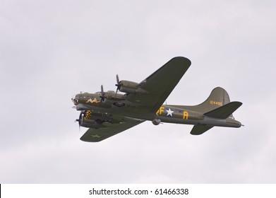 EDE, THE NETHERLANDS - SEPTEMBER 18: B17 Bomber at the Jan Hilgers Memorial / Airborne drop Arnhem 1944 Memorial on September 18, 2010 in Ede, The Netherlands