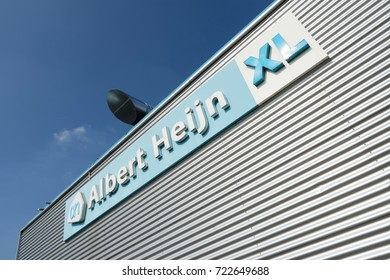 EDE, NETHERLANDS - September 24, 2017: Albert Heijn XL sign at branch. Albert Heijn is the largest Dutch supermarket chain, founded in 1887 and a key brand of Ahold Delhaize.