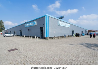 EDE, NETHERLANDS - September 24, 2017: Albert Heijn XL supermarket. Albert Heijn is the largest Dutch supermarket chain, founded in 1887 and a key brand of Ahold Delhaize.