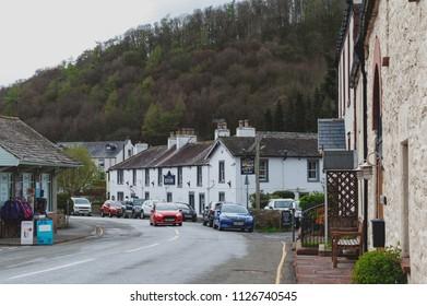 Eden, England - April 2018: Small lakeside village of Pooley Bridge near Lake Ullswater in Lake District, England