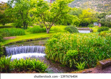 eden garden fairytale waterfall fountain in the Giardino di Ninfa - Cisterna di Latina - Lazio - Italy on 05 May 2019