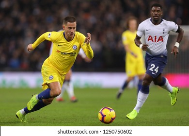 Eden Hazard of Chelsea and Serge Aurier of Tottenham Hotspur - Tottenham Hotspur v Chelsea, Premier League, Wembley Stadium, London (Wembley) - 24th November 2018