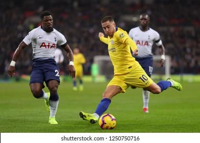Eden Hazard of Chelsea shoots at goal - Tottenham Hotspur v Chelsea, Premier League, Wembley Stadium, London (Wembley) - 24th November 2018