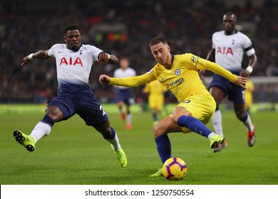 Eden Hazard of Chelsea turns to beat Serge Aurier of Tottenham Hotspur - Tottenham Hotspur v Chelsea, Premier League, Wembley Stadium, London (Wembley) - 24th November 2018