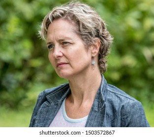 EDEN MILLS, ONTARIO, CANADA - SEPTEMBER 8, 2019: Catherine Porter, author and Canada Bureau Chief for the New York Times, awaits her turn to speak at the annual Eden Mills Writers Festival.