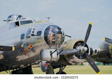 Eden Prairie, Minnesota / USA - July 13 2019: Boeing B-17 Flying Fortress preflight checks at Flying Cloud Airport for the Wings Of The North Air Exposition.