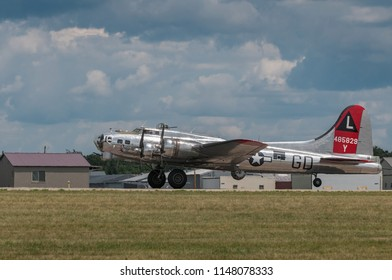 EDEN PRAIRIE, MN - JULY 16 2016: B-17G bomber Yankee Lady lifts off runway at air show. This B-17 was a Flying Fortress built for use during WW II but never flew in any combat missions.