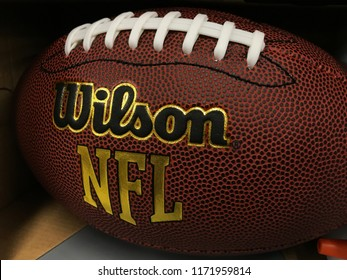 Eden Prairie, MN/USA- AUGUST 30, 2018. A football on display in Minnesota in anticipation of the kickoff of the regular season of American football.