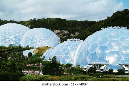 EDEN PROJECT, CORNWALL - AUG 15TH: The biomes of the Eden Project in Cornwall, UK, on August 15th, 2012. Eden project is a UK environmental attraction.