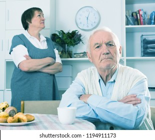 Ederly man and woman take offense at each other at home