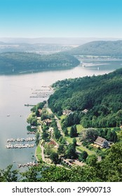 Edersee lake and Waldeck country aerial