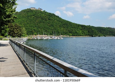 Edersee Water front and Boardwalk with castle Wladeck