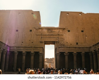 Edfu, Aswan, Egypt - 2008 - An old Image taken from inside of Edfu temple in Aswan full of tourists
