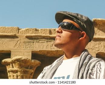 Edfu, Aswan, Egypt - 2008  - Portrait of Egyptian Adult Arabic Man inside of the Edfu temple in Aswan