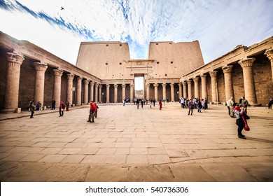 Edfu, ASWAN, EGYPT - 24 JANUARY 2016: The great Temple of Horus is the best place in Upper Egypt to feel the spirit of the ancient times