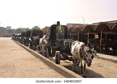 EDFU, EGYPT - 3 MAY 2019: Touring Edfu in a horse drawn cart. Horse drawn carts are a popular mode of transport throughout Egypt. Editorial.