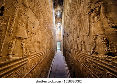 EDFU, EGYPT - DECEMBER 29, 2018: Interior of the ancient egyptian Temple of Horus at Edfu, Egypt.
