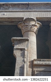 Edfu, Egypt: Detail of columns in the courtyard of the temple of Edfu, the largest temple dedicated to Horus and Hathor of Dendera.