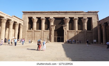 EDFU, EGYPT - OCTOBER 12: Visitors in Temple of Edfu on October 12, 2018 in Edfu, Egypt. Edfu temple is the most well-preserved of the ancient Egyptian temples in all Egypt.