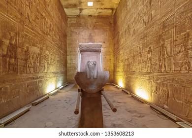Edfu, Egypt - September 13, 2018:Temple of Horus at Edfu - Egypt