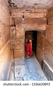 Edfu Temple Dedicated to the Falcon God Horus, Located on the west bank of the Nile, Edfu, Upper Egypt