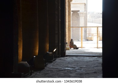 Edfu/Egypt_19 Feb 2019: The Temple of Edfu is an Egyptian temple located on the west bank of the Nile in Edfu. One of the most beautiful and preserved Temples in Egypt. Entrance with Security guard
