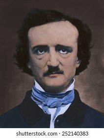 Edgar Allan Poe (1809-1849), American author and poet in 1848 daguerreotype portrait with modern color.