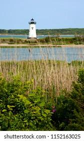 Edgartown Harbor lighthouse is a favorite tourist attraction on Martha's Vineyard during the summer season in Massachusetts.