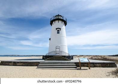 Edgartown Lighthouse, on Martha's Vineyard in Massachusetts - wide angle view.
