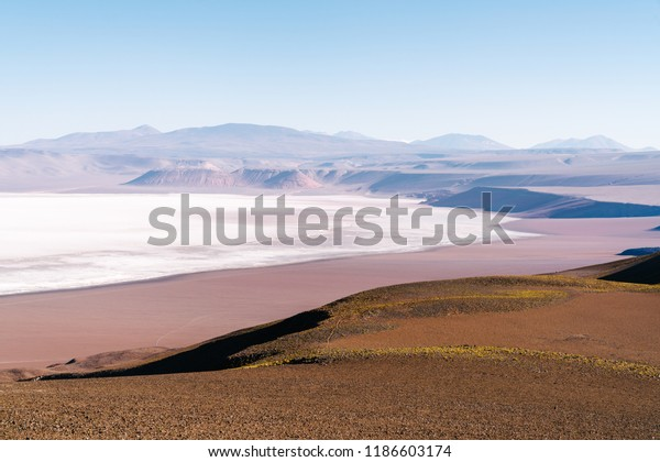 The edge of Argentina's second largest salt flat, the Salar De Arizaro in the Andes