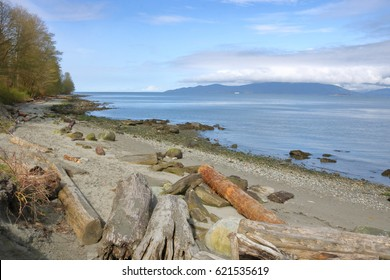 The edge of British Columbia's Vancouver district with the Salish Sea in the distance/Vancouver Outskirts and Salish Sea/British Columbia's Vancouver district with the Salish Sea in the distance.
