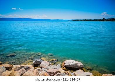 Edge of clear blue lake on the border of Utah and Idaho.