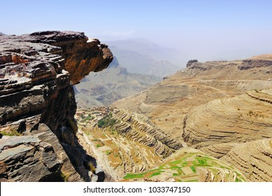 An edge of the cliff hungs over abyss 800 meter deep.  Plateau Bokur, Yemen