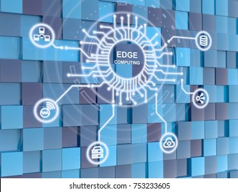 Edge computing circuit circle on blue cube background 3D illustration