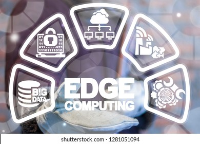 Edge computing industry 4.0 concept. Inustrial men offers a edge computing words icon on a virtual screen.