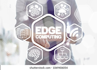 EDGE Computing Information Technology Concept. IT expert used a virtual interface clicks the words edge computing surrounded by specific icons.