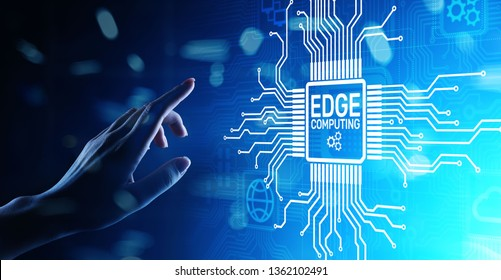 Edge computing modern IT technology on virtual screen concept.