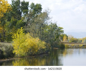 Edge of a full pond in a wetlands area on the Colorado prairie in autumn with autumn foliage