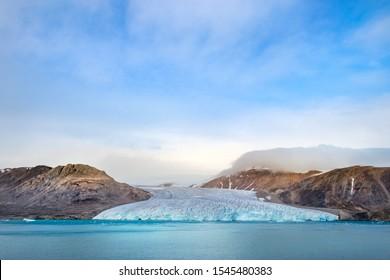 Edge of the glacier in Fitzroy Fjord, Devon Island, Nunavut, Northern Canada.