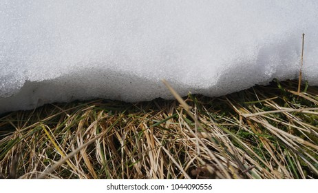 Edge of a snow drift in an Irish Bog