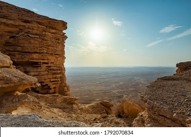 Edge of the World, a natural landmark and popular tourist destination near Riyadh -Saudi Arabia. Selective focus on the subject and background blurred.