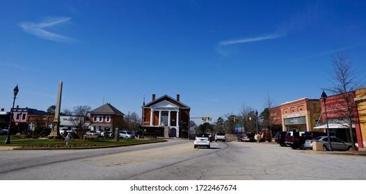Edgefield USA -20 February 2015 : Downtown Edgefield in South Carolina USA