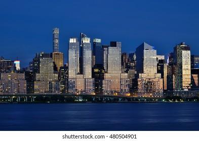 EDGEWATER, NJ -3 SEPTEMBER 2016- Night view of the Manhattan skyline in New York City seen from Edgewater.